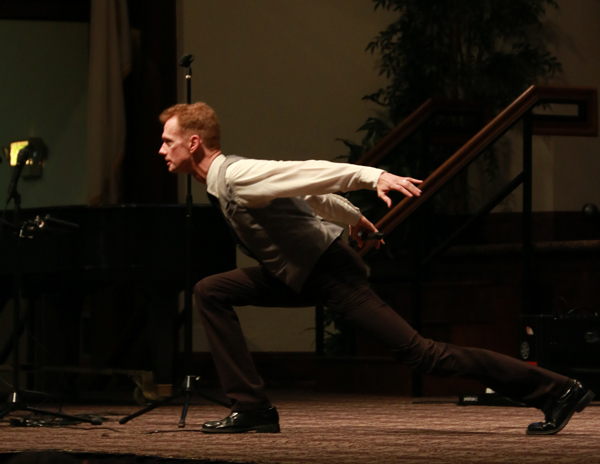 Actor Doug Jones strikes his Silver Surfer pose during Chapel