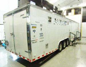 White painted trailer with Asbury HD painted on the side, inside a garage