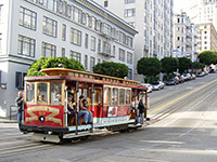 Cable car on street of San Francisco
