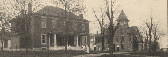 Old photograph of brick buildings
