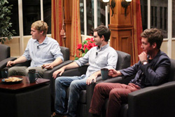 Will Houp '12, Professor David Wheeler and Kyle Thiele '14 on the show's set. Photo by Madison Wathen '14.