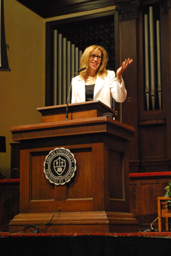 Former media executive Lana Corbi challenged students in Chapel to be confident in their faith.
