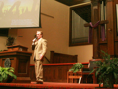 Award-winning jockey Pat Day spoke in Chapel about the birth of his faith.