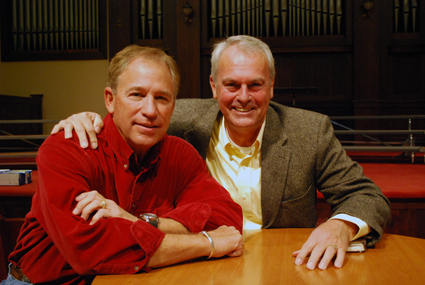 Doug Flynn, left, and Keith Madison spoke at Asbury University's Chapel on attitude and excellence.