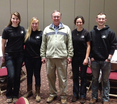 Asbury students Nicole Nystrom '15, Paige Grass '14, Anna Houben '13 and Roman Jaconette '15 traveled with Equine Professor Marty Bilderback (center) to the American Forage and Grassland Council's annual conference.