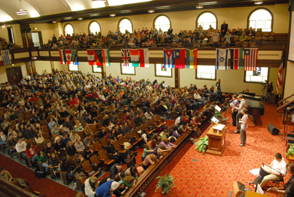 Students filled the altar during the Great Commission Congress 2012.