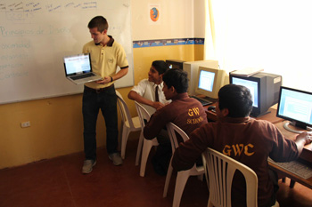 One of Griffin's tasks in Peru was teaching the principles of graphic design.