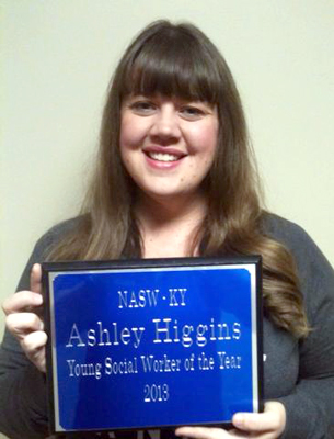 Ashley Higgins '14 was named Young Social Worker of the Year by the Kentucky chapter of the National Association of Social Workers.