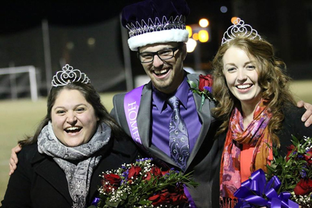 From left, Homecoming Queen Jennifer Silver, King Brady Parks and Queen Lucy Allen. Photo by Wes Griffin.