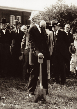 John Wesley Hughes, founder of Asbury University, at the groundbreaking for Hughes Auditorium in the late 1920s.