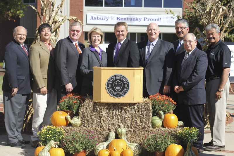From left, Kentucky Representative Bob Damron, Asbury Student Body President Isaac Archer '14, Kentucky Senator Tom Buford, Asbury University President Sandra Gray, Agriculture Commissioner James Comer, Pioneer College Caterers President Bill Sinclair, Pioneer Senior Vice President of Operations John Pierce, Asbury Food Services Director Todd Goepper, and Wilmore Mayor Harold Rainwater. Photo by Bryan Garrett.