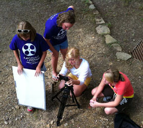 Students at Mahaffey Camp in Pennsylvania screened their finished films for family and friends.
