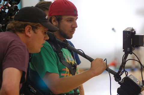 Zach Meiners '12 (left) taped his 90-minute film in Louisville.