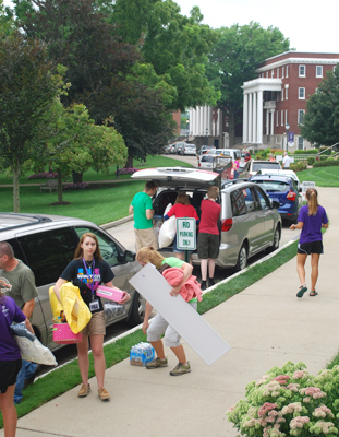 Current students, faculty and athletes were on call to help new students move in.
