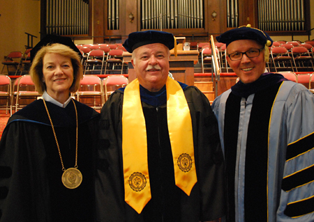 From left: President Sandra Gray, Dr. Burnam Reynolds and Provost Jon Kulaga. Dr. Reynolds was awarded the Frances White Ewbank Excellence in Teaching Award.