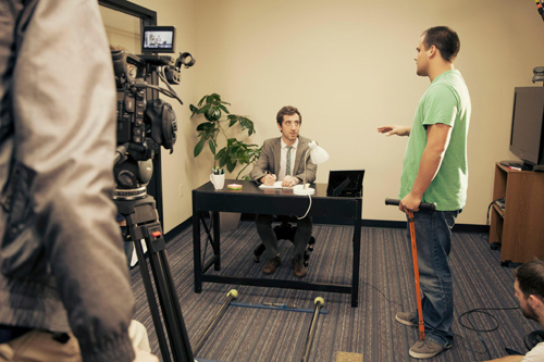 Erik Thein '13 (right) directs Andrew Hunter '13 on the set.