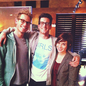 "Asbury alum Greg Weidman '06, center, spent time on the set of ""NCIS: LA"" with cast members Barrett Foa and Renee Felice Smith."