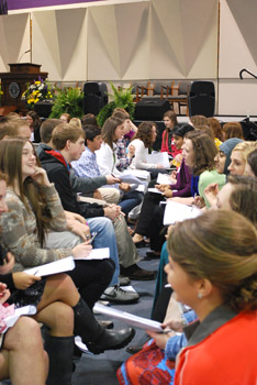 Youth Salute participants practiced listening skills during at a leadership event at Asbury University.