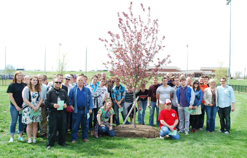 The tree planted in honor of Jeff McMillian is located near the athletic fields on Asbury's campus.