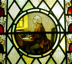 A stained-glass window of Charles Wesley in Bristol, England