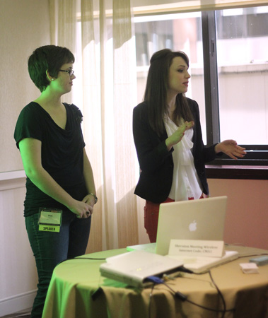 Riah Lawry '13 (left) and Jane Brannen '13 spoke about redesigning Asbury's student newspaper during the College Media Association's spring conference. Photo by Madison Wathen '15.