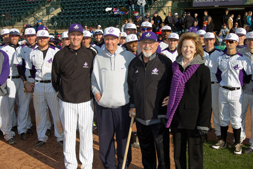 Asbury University announced that its new baseball and softball complex will be named in honor of Dr. Jiles E. Kirkland '50. From left: Baseball coach Bob Silvanik, Tim Philpot '73, Kirkland and Dr. Sandra Gray.