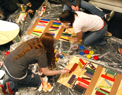 "Sophomores took time over spring break to put the final touches on the set for ""The Music Man."""