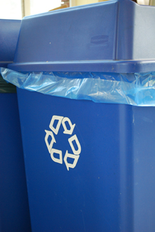 Recycling bins can be found in most campus buildings.