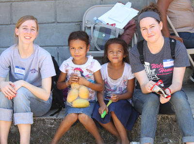 Leah Powers '13 (left) and Hannah LeCompte '14 traveled to Honduras with the World Gospel Mission.