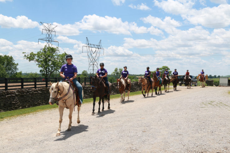 a long line of students riding horses