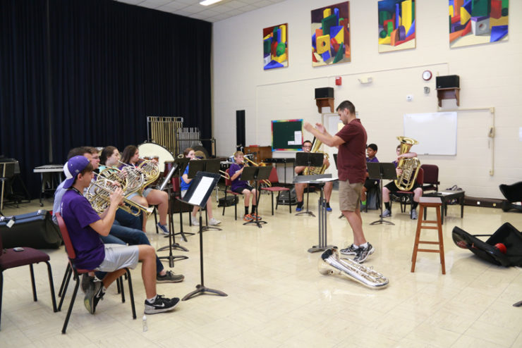 students playing in a brass ensemble