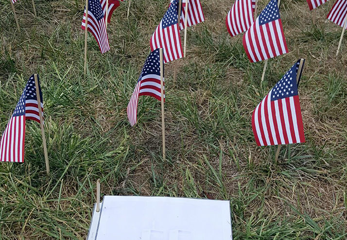 American flags on the green in memory of those who died on 9/11