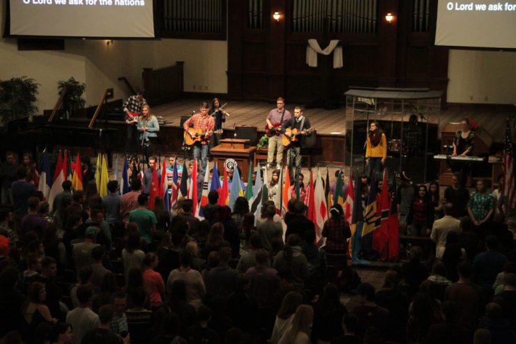 national flags in chapel