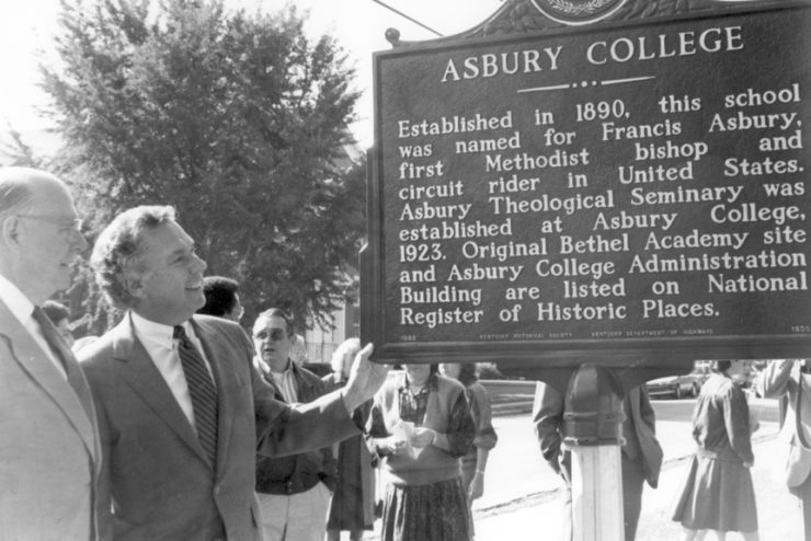 historical sign in front of Asbury College