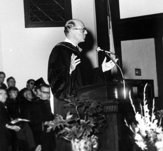 Dr. Dennis Kinlaw speaking in chapel