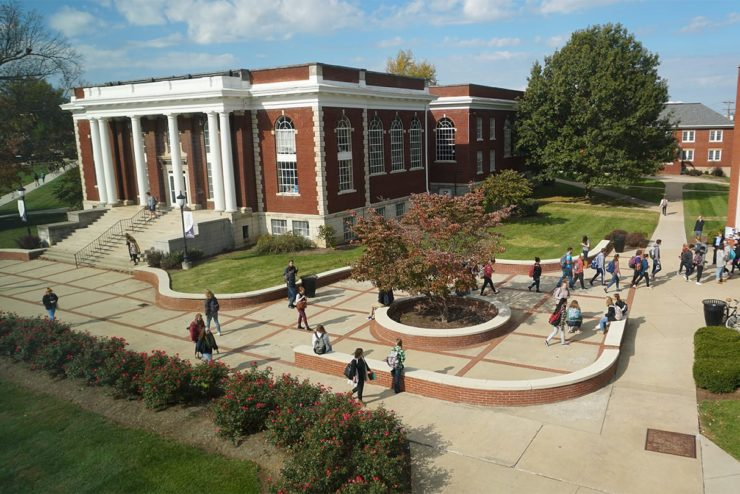 View of sidewalks and campus buildings