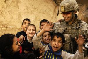 Children with US soldier
