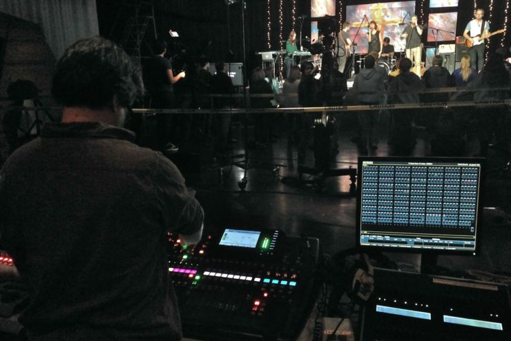 Student mixing a live show