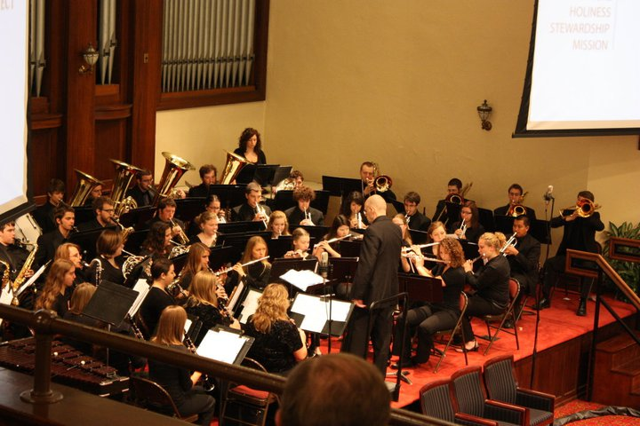 concert band playing in Hughes