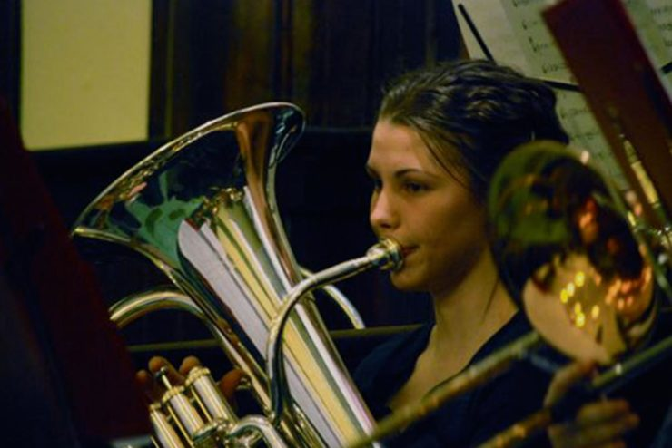 student playing a euphonium