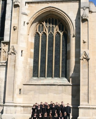 Asbury University Chorale outside of Gloucester Cathedral