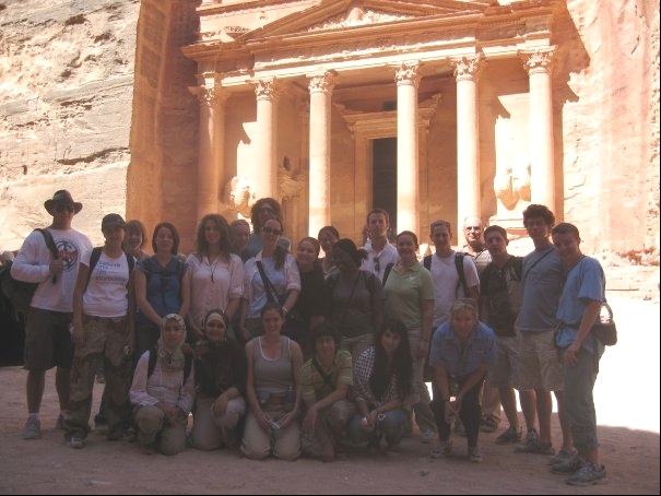 group of Tourists in front of Petra in Jordan