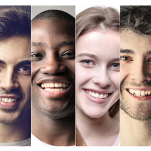Portrait of different people smiling