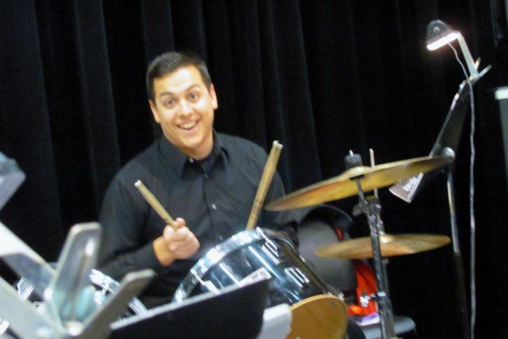 smiling jazz drummer