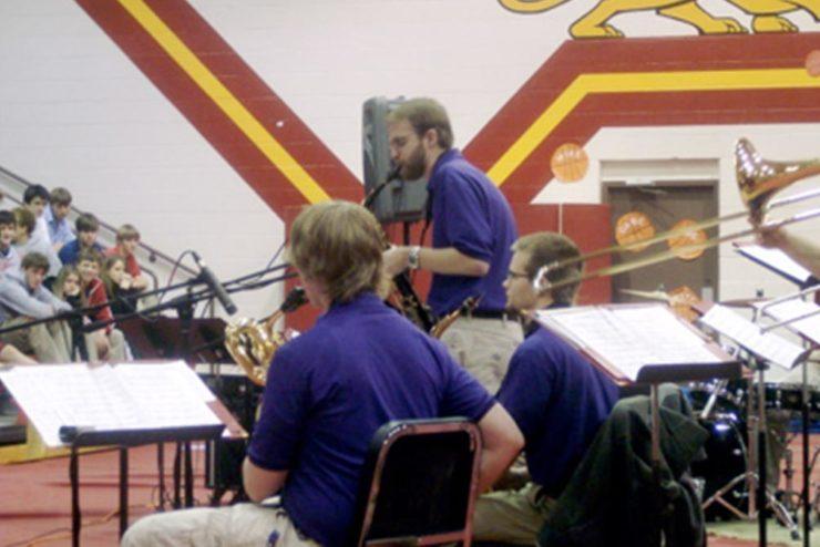 Jazz Ensemble playing in a High School Gymnasium