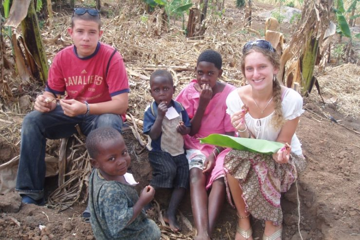 students with children in Uganda