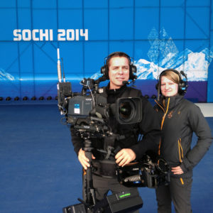 journalism student working with camera operator at the Sochi Olympics