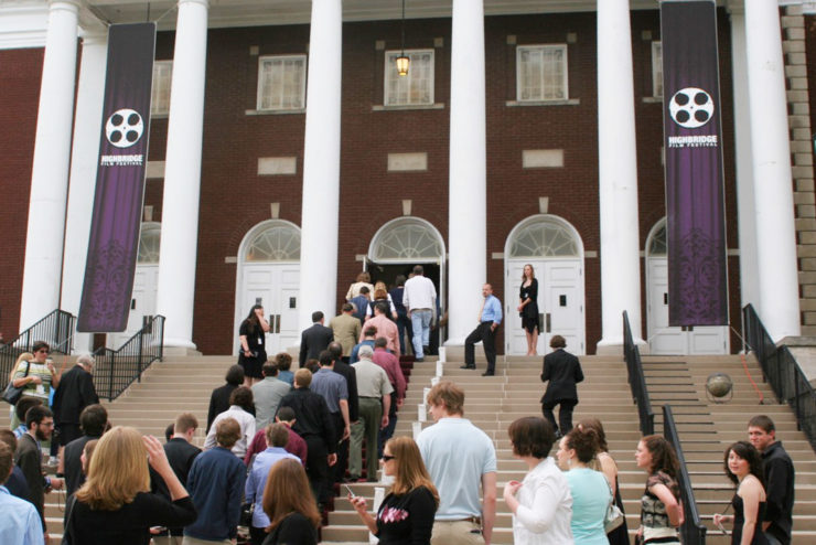 people lining up in front of Hughes Auditorium before the Film Fesitval