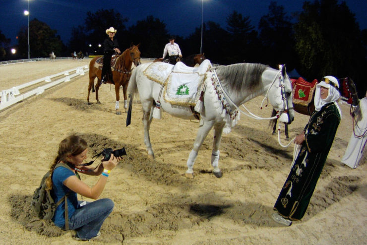 Student photographing a horse and handler