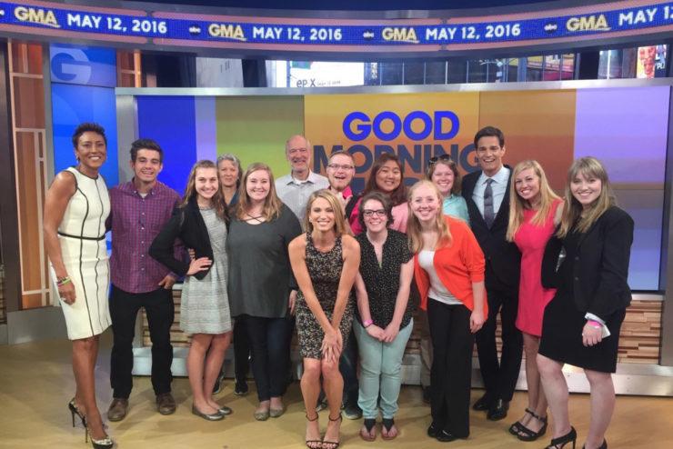 Student interns posing on the Good Morning America set
